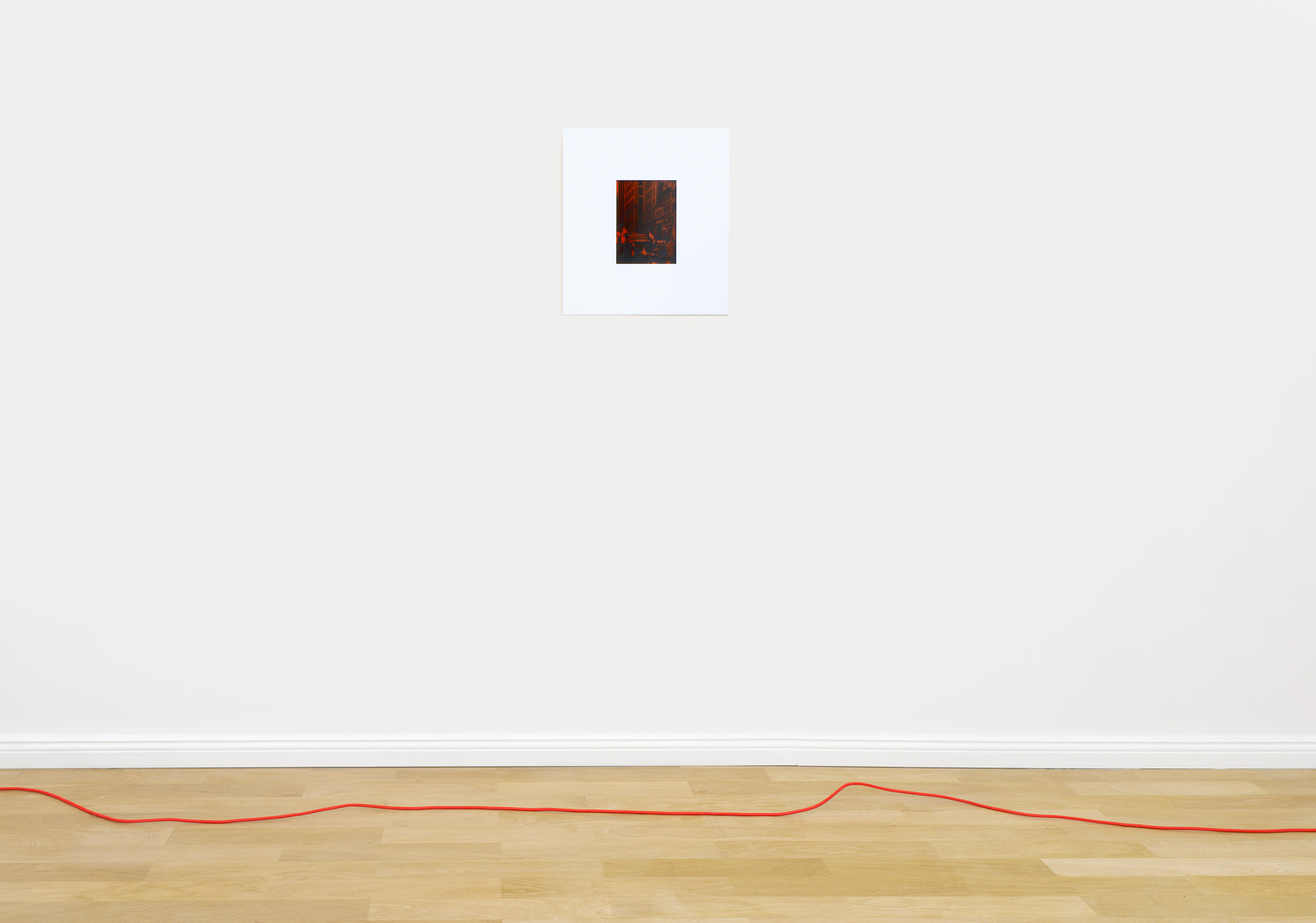 Installation view, Christopher Aque,  Red-blooded, White-skinned, and the Blues  Top:  Sanitation (Pride) , 2018; Bottom: wire from  Transmission , 2018