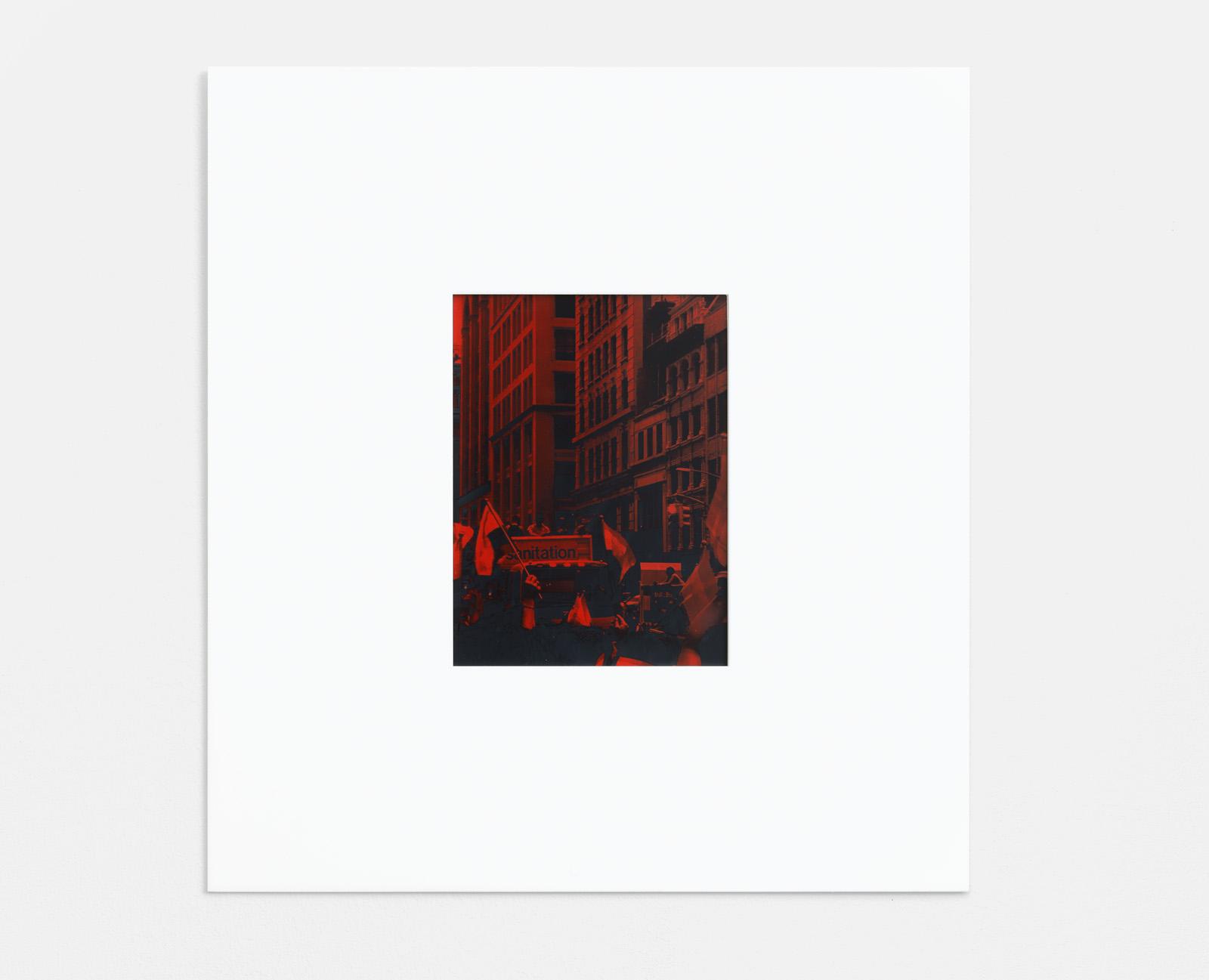 Sanitation (Pride) , 2018 UV-C exposed gelatin cyanotype on lacquered aluminum in acrylic frame