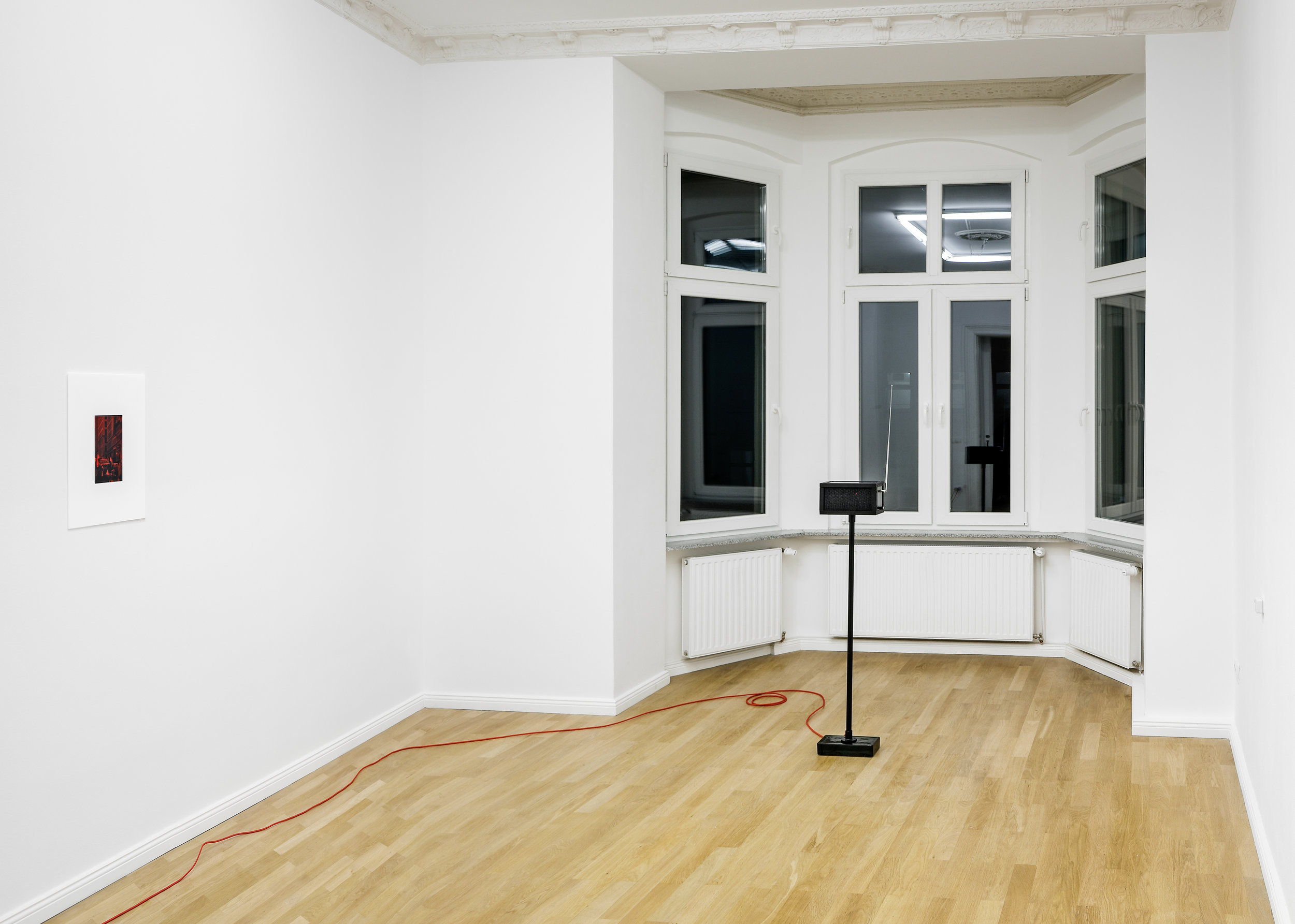Installation view, Christopher Aque,  Red-blooded, White-skinned, and the Blues  Left to Right:  Sanitation (Pride) , 2018;  Transmission , 2018