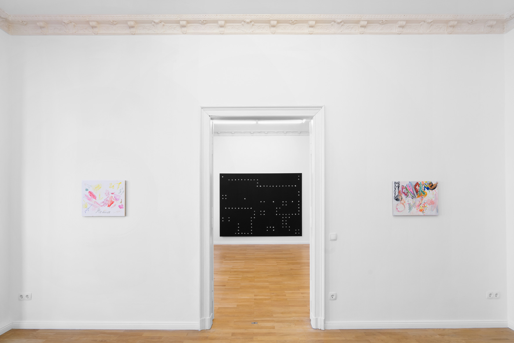 Installation view,  Cecilia  Left to right: Sofia Leiby,  Jacqueline (Creative World I) , 2019; Jeff Zilm,  An Anti-algorithmic Painting in Memory of Jack Burnham , 2019; Sofia Leiby,  Mont Marte (Creative World II) , 2019