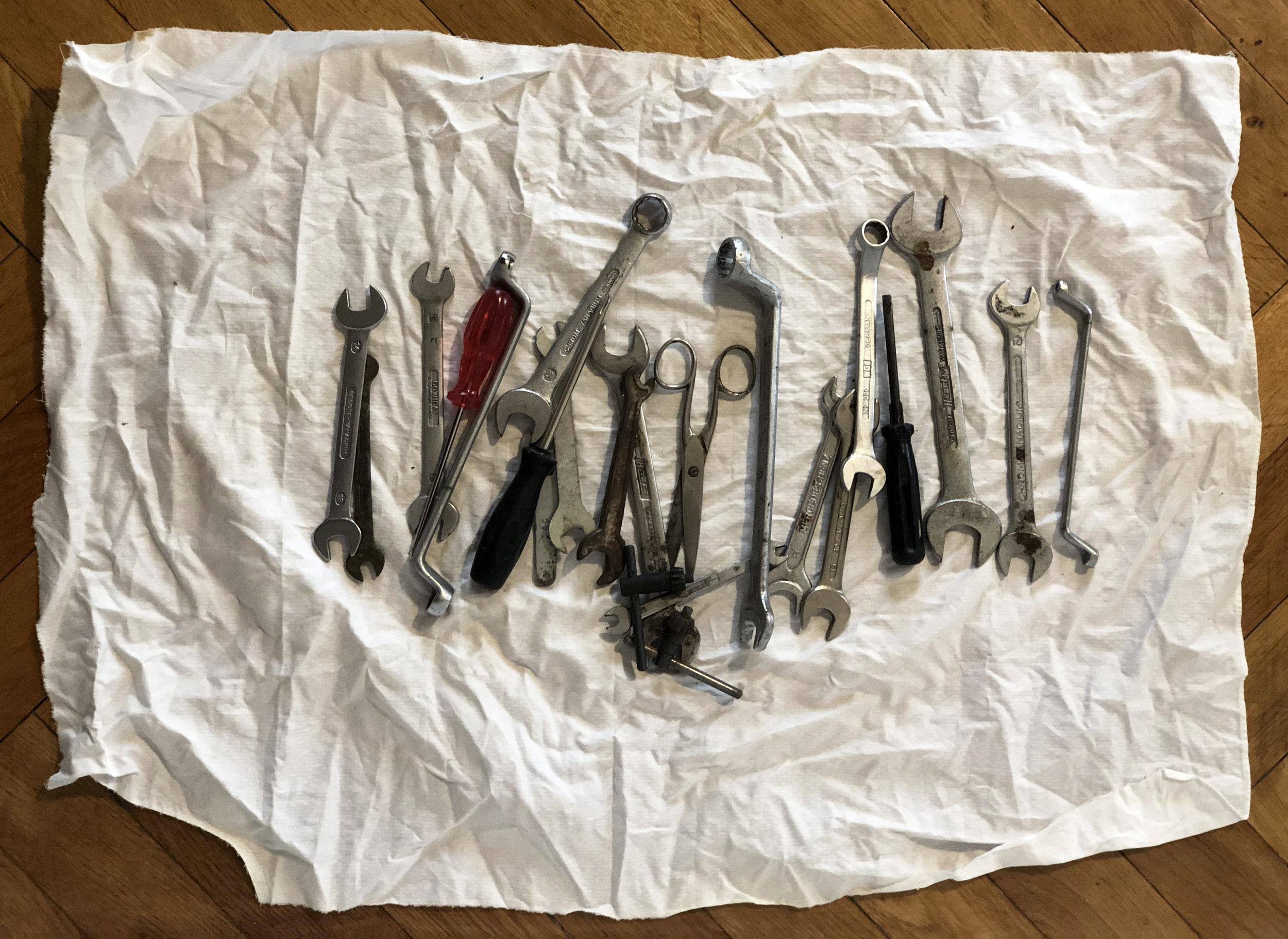 Constantin Thun,  Untitled toolbox (Axel) , 2019 Cloth, assorted tools 76 x 54 x 3 cm