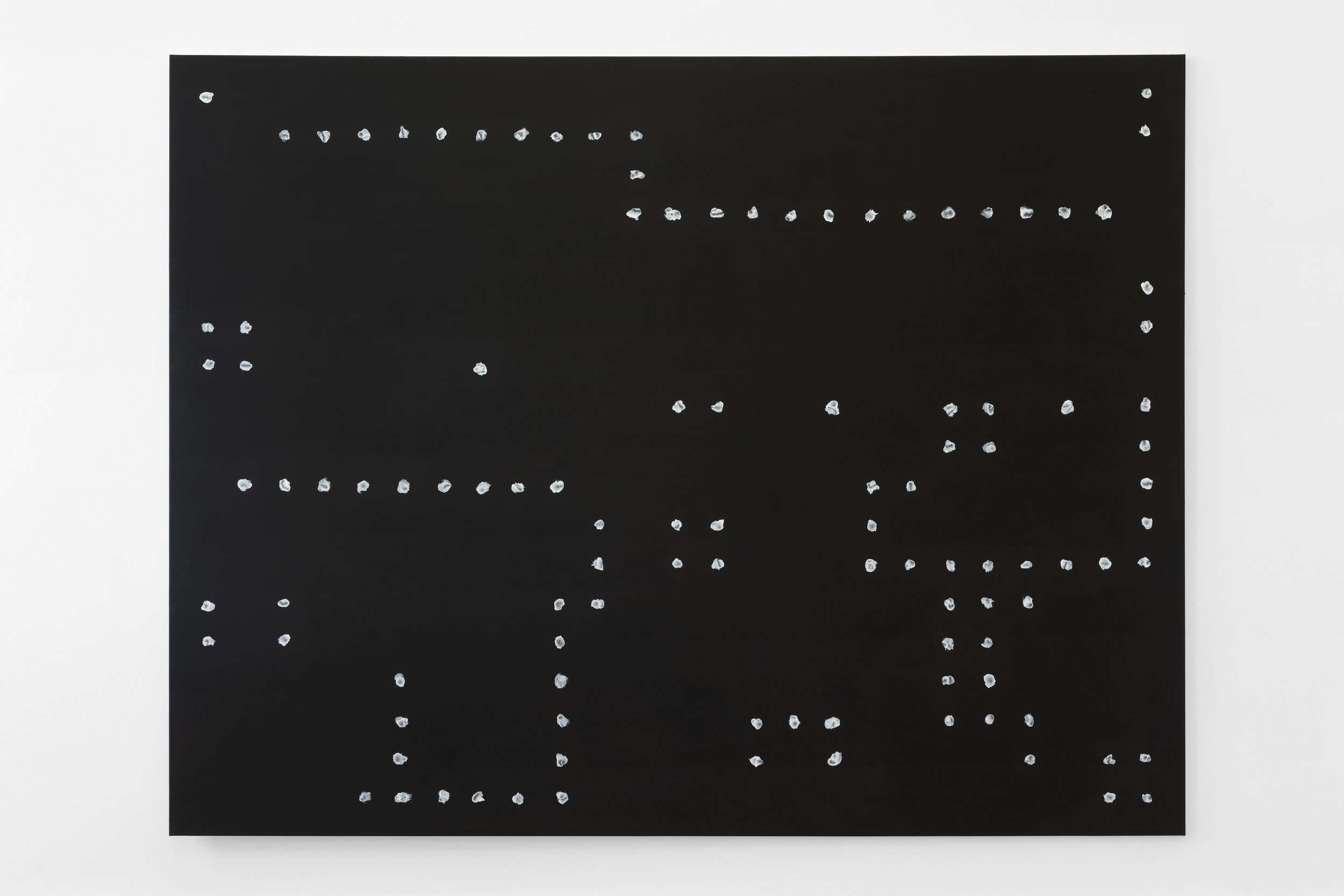 Jeff Zilm,  An Anti-Algorithmic Painting in Memory of Jack Burnham , 2019 Acrylic, black gesso and optical sound on canvas 200 x 260 cm