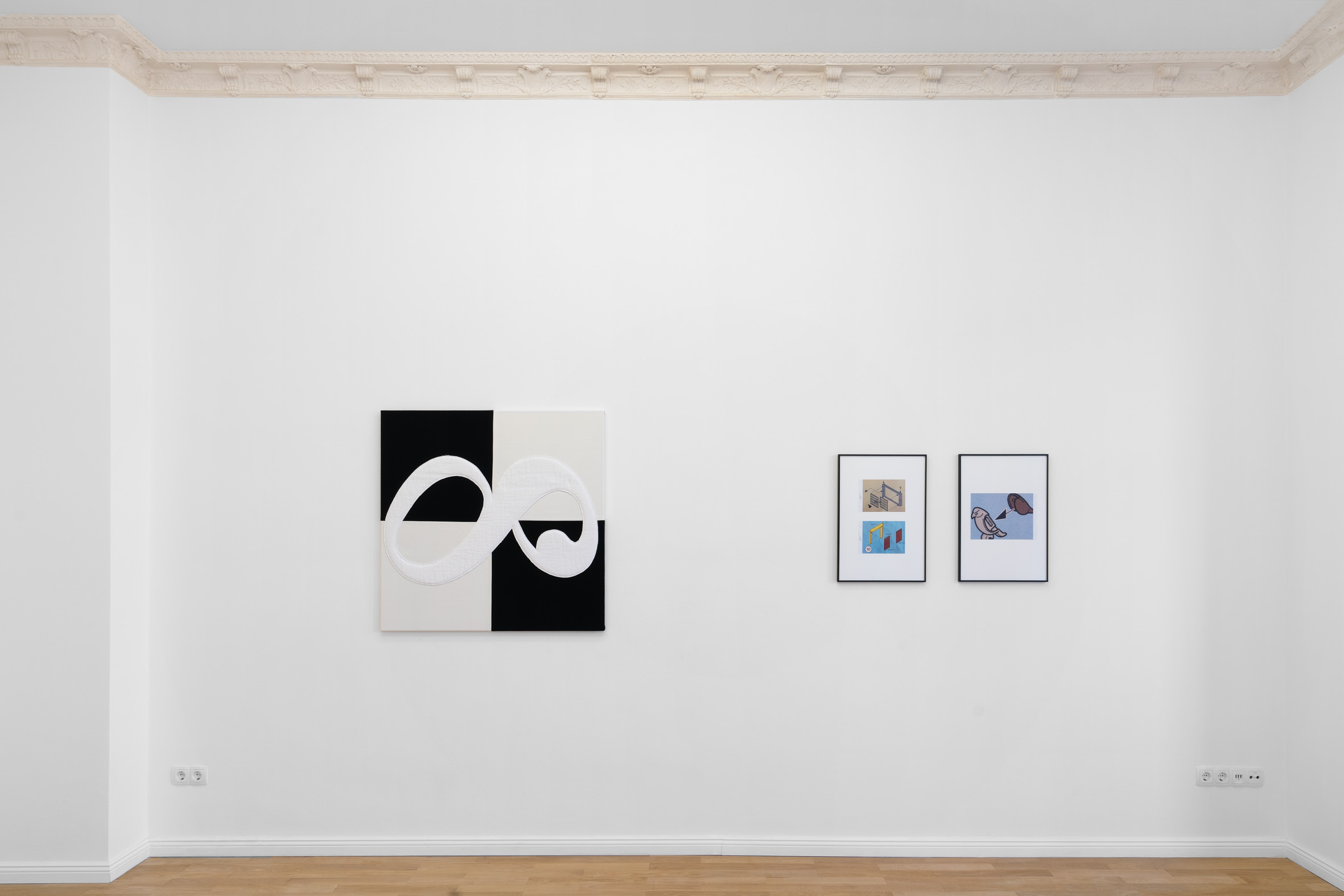 Installation view,  Cecilia  Left to right: Benjamin Hirte,  Not yet titled , 2019; Anna-Sophie Berger,  Playproblems 2 , 2018; Anna-Sophie Berger,  Playproblems 4 , 2018