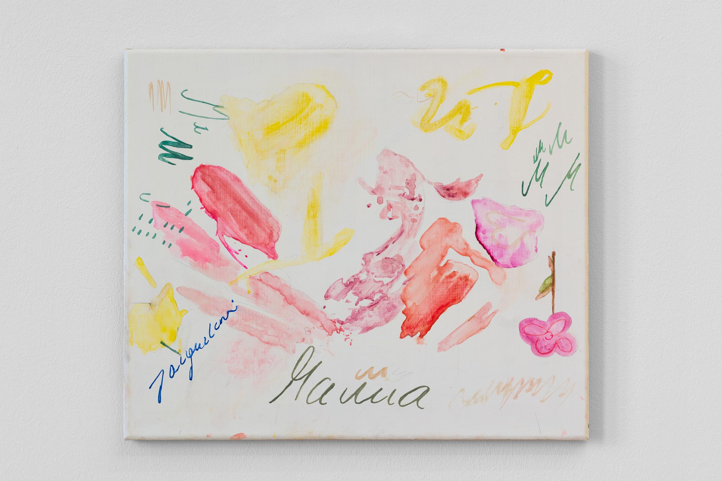 Sofia Leiby,  Jacqueline (Creative World I) , 2019 Watercolor and pencil on linen 42.5 x 50 cm