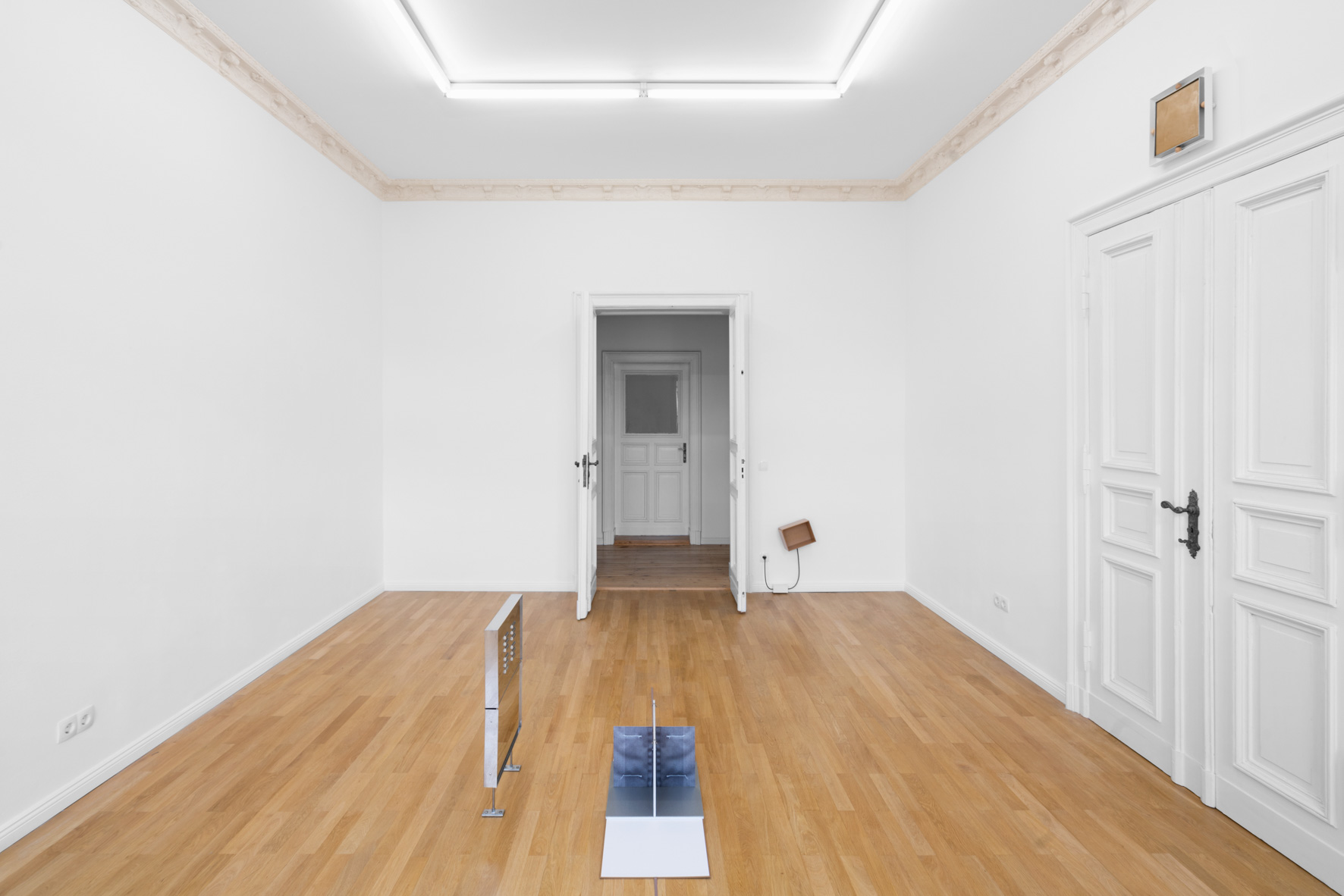 "Installation view, Jesse Stecklow, ""Ditto"" Left:  Untitled (Air Sampler) , 2019 Center:  Box Set , 2019 Back right:  Room Box , 2019 Top right:  Glue Trap for Non-Living Things , 2019"