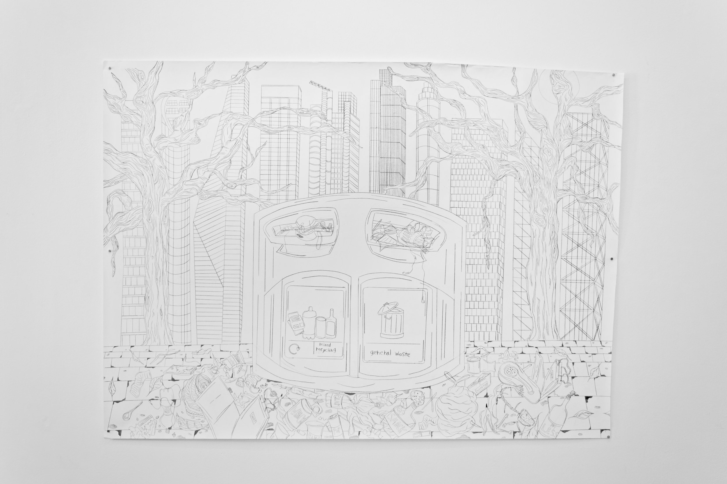 La Belle Vie , 2019 Graphite on paper 150 x 205 centimeters 59 x 80.5 inches
