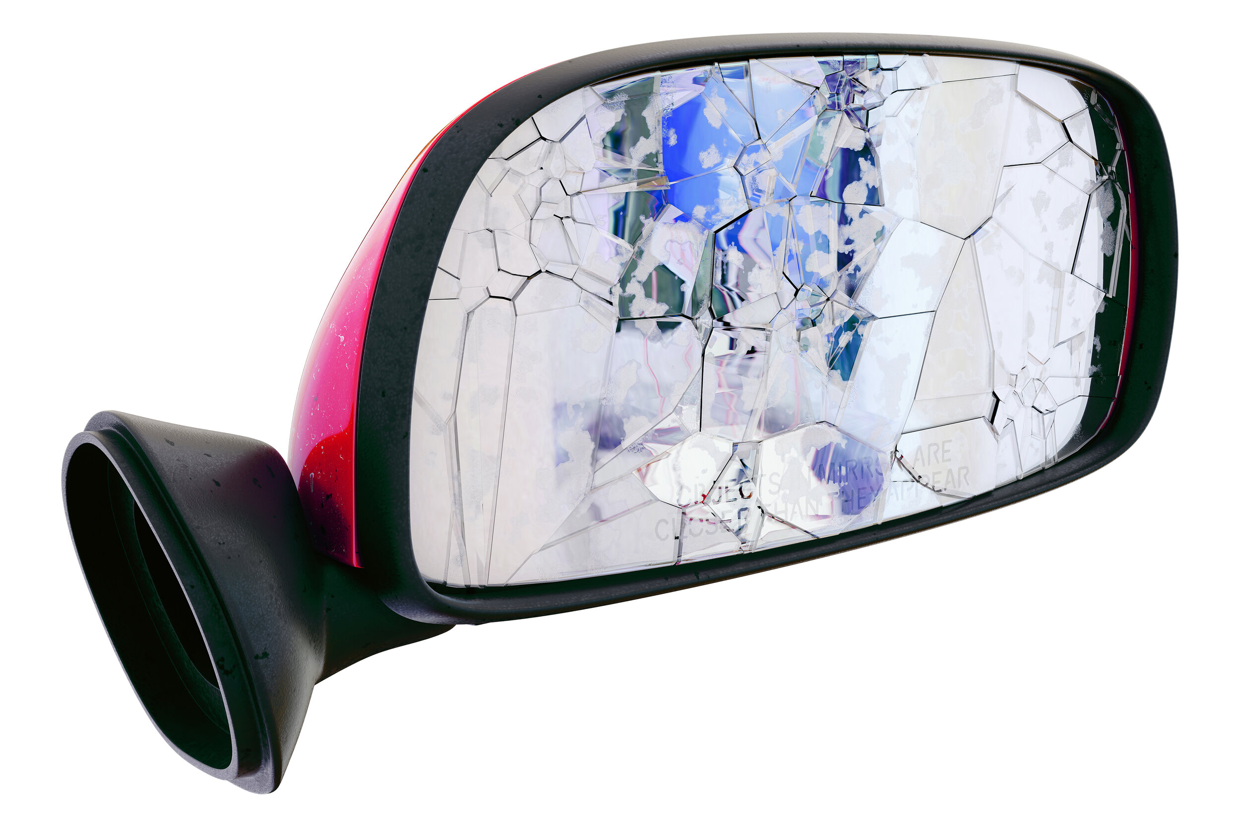 Asha Schechter,  Prius mirror from Baby Barcelona , 2019 Inkjet print on adhesive vinyl 150 x 104 centimeters, 59 x 41 inches
