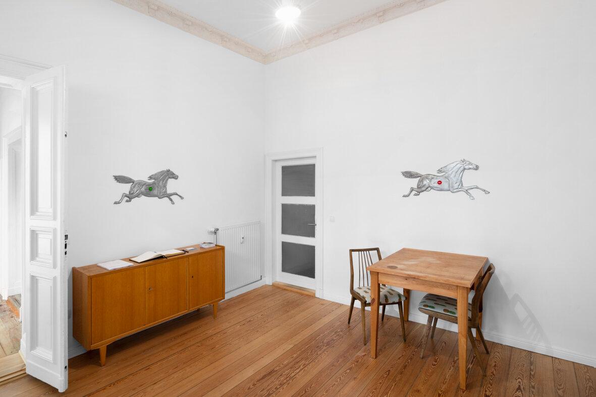 Installation view,  Andrew J. Greene, Madeline Hollander, Asha Schechter  (office)   Left: Andrew J. Greene,  Yes , 2019 Right: Andrew J. Greene,  No , 2019