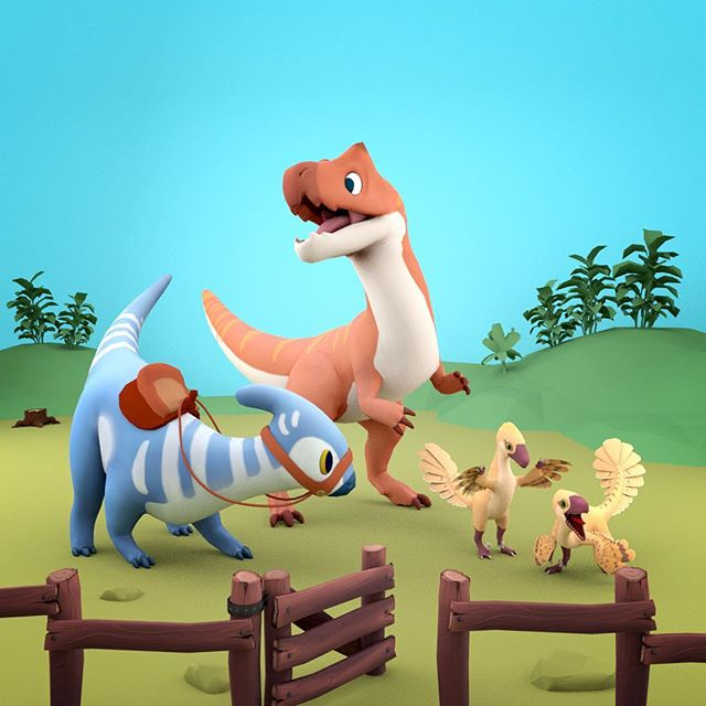 A family can be an allosaurus, a parasaurolophus and two annoying raptors! Dinos Modelled by @itslocko and @jackellisonart. - - - #gamedev #indiedev #games #indiegames #game #art #dinosaur #3D #3dmodel #Parasaurolophus #deinonychus #raptors #raptor #paleoart #Maya #unity #zbrush #allosaurus #raptors #modeling #gameart #digitalart