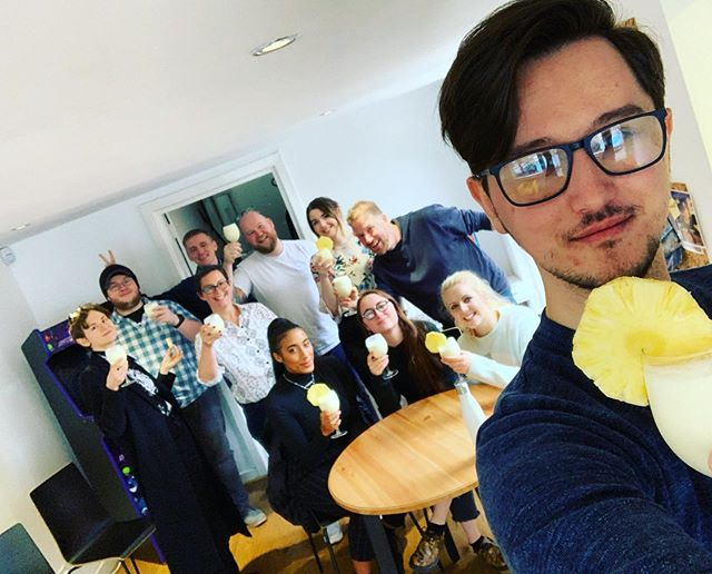 Celebrating a successful transition into our new pipeline with some home-blended piña coladas! Also coincided with our first new start, Britt, coming in to say hi! - - #madeinnorthernireland #indiedev #videogames #kickstart #cocktail hour