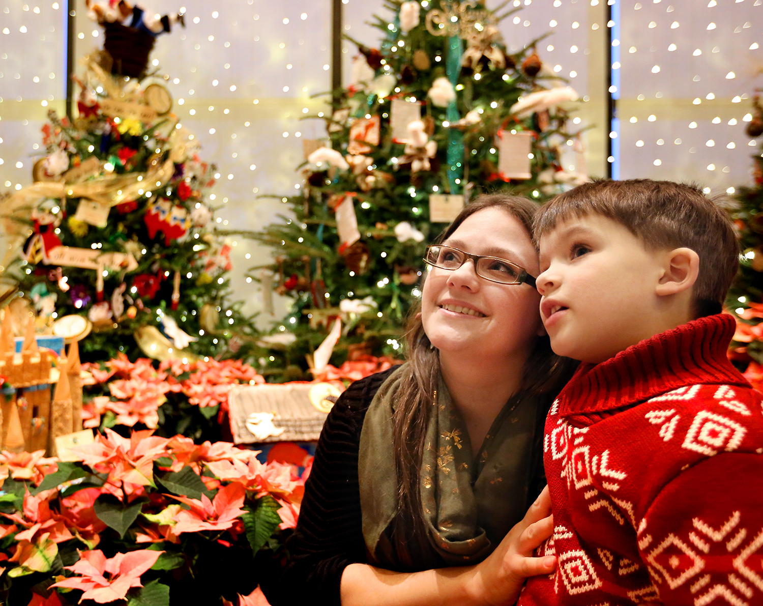 Mother and son admiring trees in Glow Village.jpg