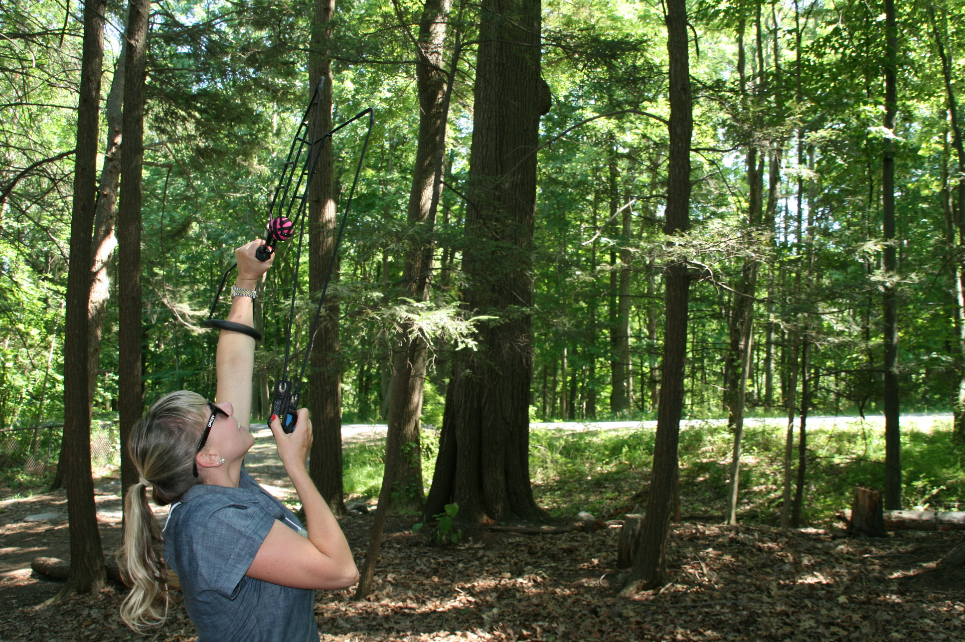 Erin practicing a sling shot survey technique for detecting hemlock woolly adelgid, an invasive plant pest in the Finger Lakes region of New York State.