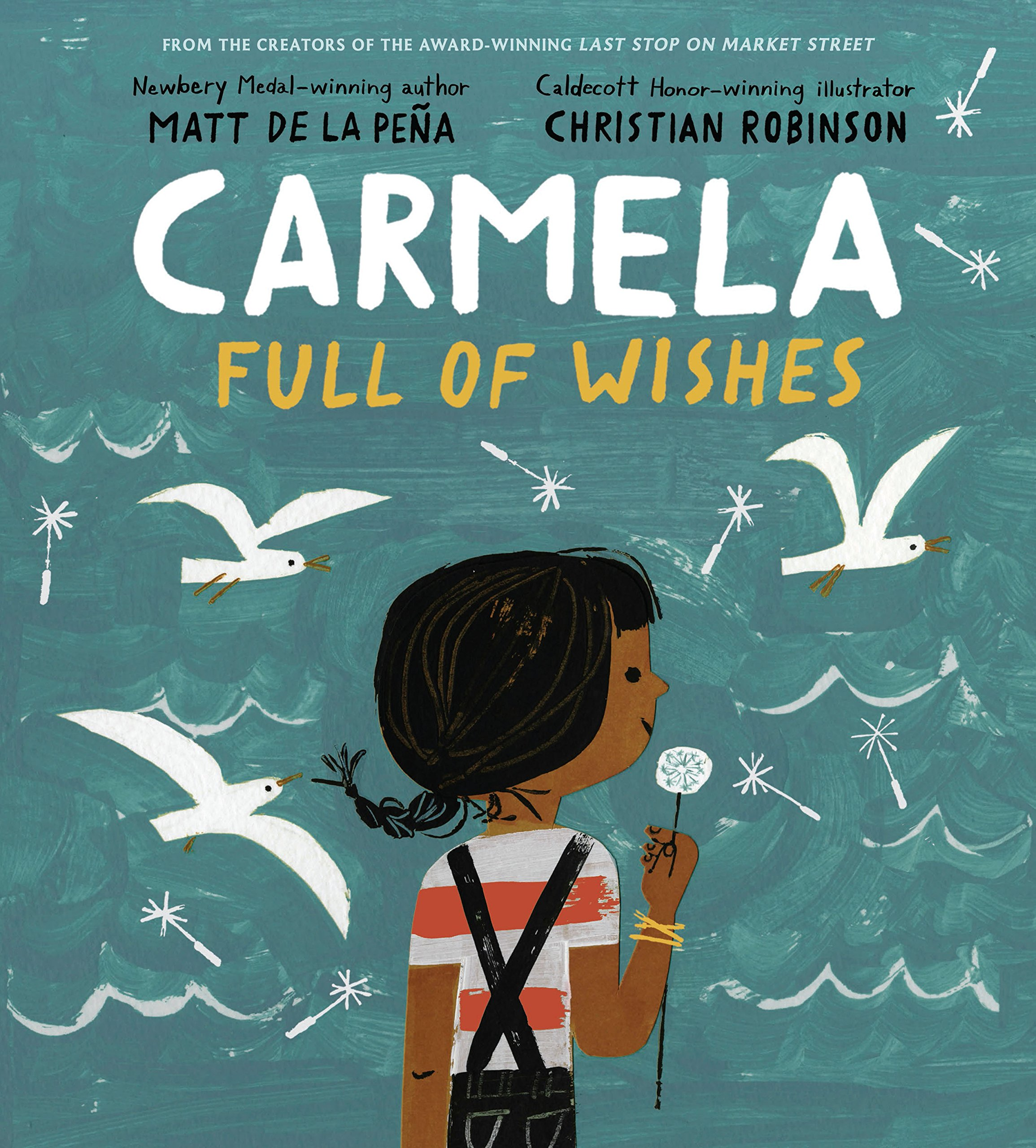 When Carmela wakes up on her birthday, her wish has already come true–she's finally old enough to join her big brother as he does the family errands. Together, they travel through their neighborhood, past the crowded bus stop, the fenced-off repair shop, and the panadería, until they arrive at the Laundromat, where Carmela finds a lone dandelion growing in the pavement. But before she can blow its white fluff away, her brother tells her she has to make a wish. If only she can think of just the right wish to make . . .