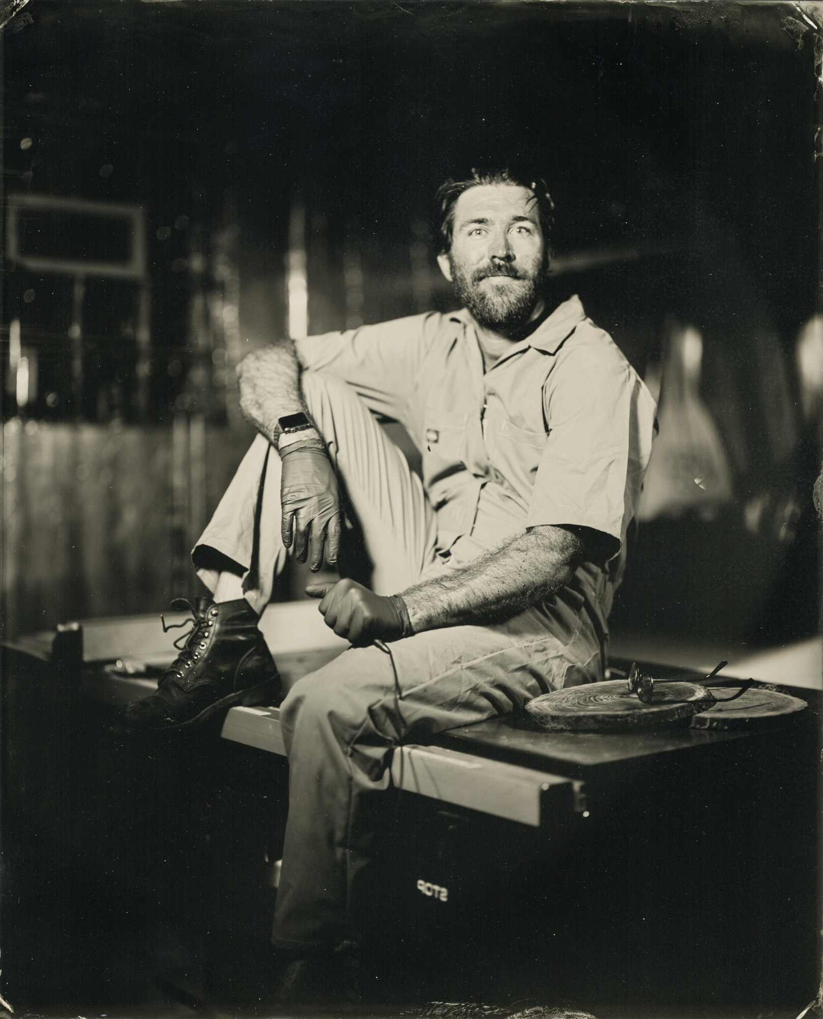 Tintype of Jay in his Baltimore workshop, 2018
