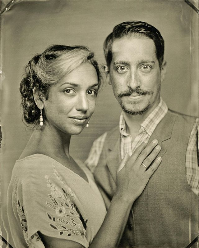 Such a fun session with Molly + Trevor today! Y'all look amazing 👀💥 . . . @margooglyeyes @trevorsize #wormholeworkshop #tintype #wetplate #portraits #timetravel #collodion