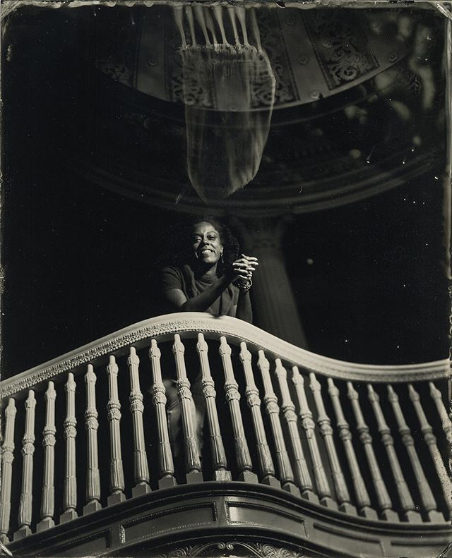 The 1 West location at @thewaltersartmuseum is incredible and I was so fortunate to be allowed to ⚠️carefully⚠️ bring the wet-plate collodion process inside. Here's Keondra looking down from the ornate staircase, being haunted by some sort of jellyfish chemical ghost👻  Hope to see you at the opening reception this Thursday, August 1 at 6:30pm. Free tickets available at @thewaltersartmuseum website. . . . Camera assistant @suzannesferrazza #tintype #ambrotype #wetplate #timetravel #diycamera #largeformat #ulf #baltimore #museumsrock #collodion