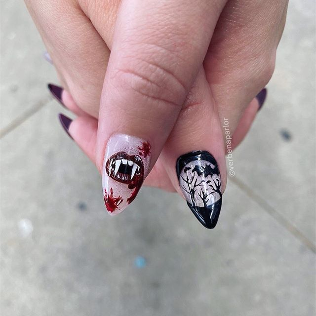 These nails are wickedly good. Do you have your Halloween outfit picked out? 🦇🧛‍♀️ . Nail artist: Brittney @oh__brittney Using: @cndworld Shellac gells #handdrawnnailart