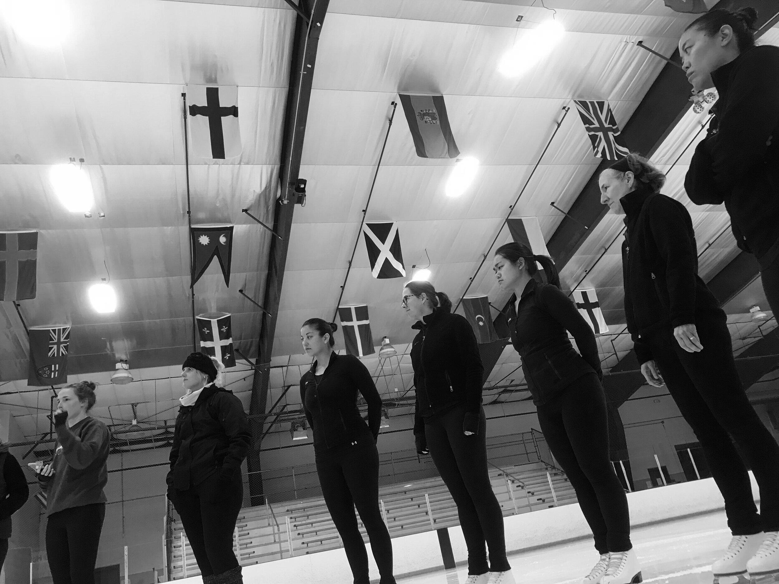 GCS skaters receiving feedback.