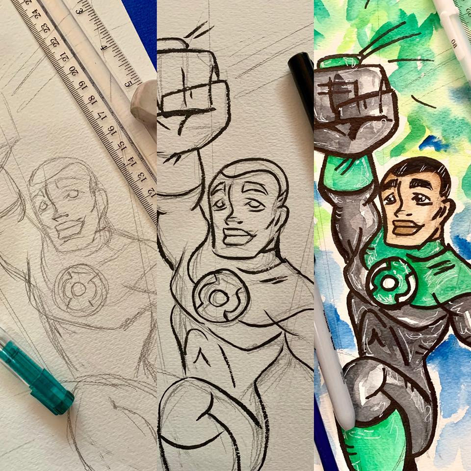 ************THIS CLASS IS FOR JOHN STEWARD/GREEN LANTERN on SUNDAY THE 24TH. Seating is limited to 10 students for this class. Please pre-pay to secure your spot(s)!  Fee: $16 Included in fee: Professional instruction on drawing techniques and watercolor painting. All the supplies you need to create your own watercolor painting of GREEN LANTERN.  Date: Sunday February the 24th Time: 2pm to 4pm