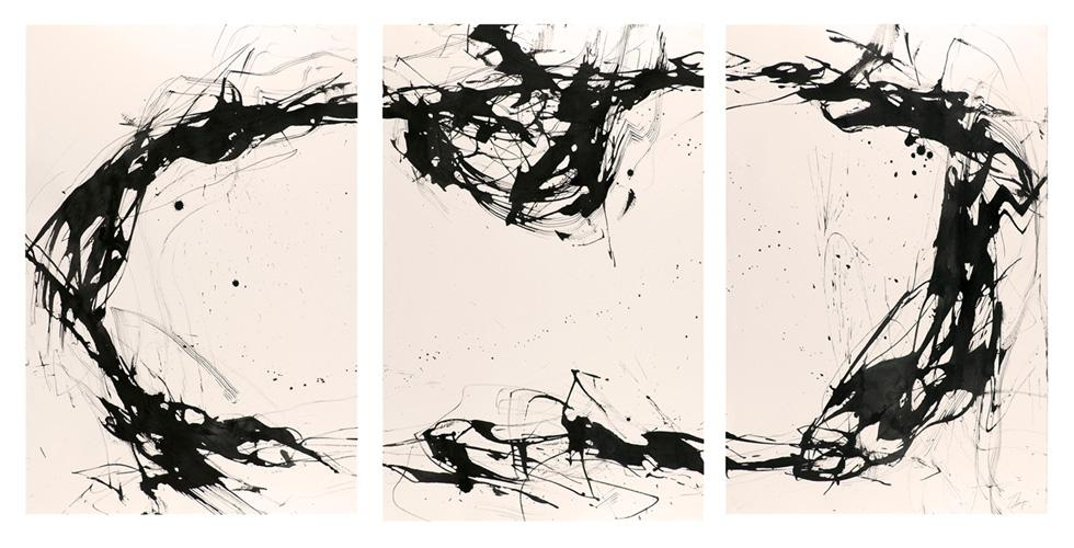 Norway Series #4 , 76 x 168 cm, Ink and pigment on paper, 2009