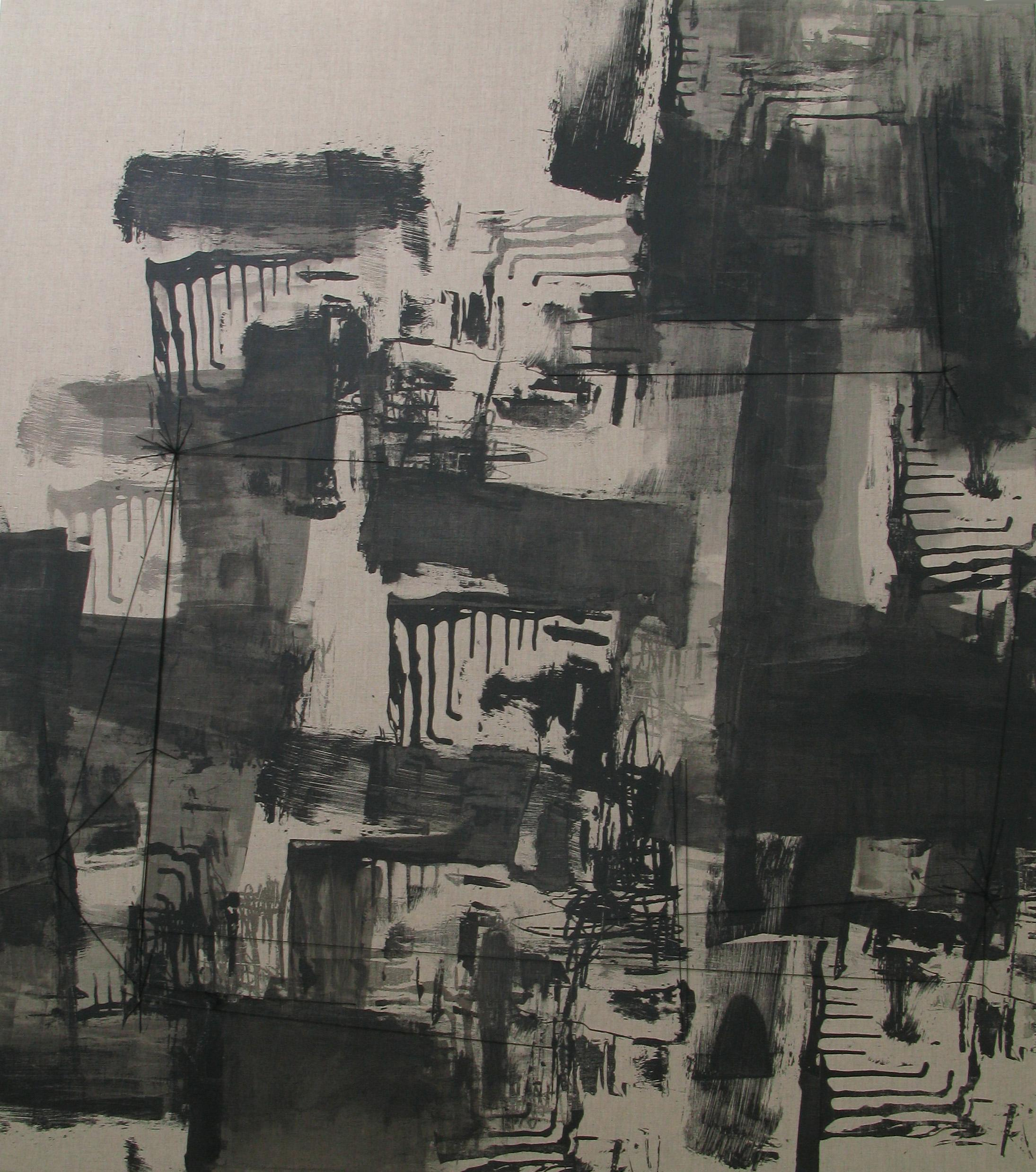Impossibility of Repetition , 165 x 148 cm, silkscreen ink and thread on linen, 2007, Private Collection  UOB Painting of the Year, Highly Commended Entry, Abstract category, 2007