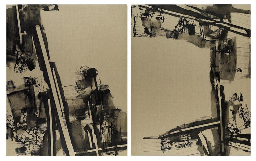 Composition Alpha (diptych) , 165 x 148 cm each, silkscreen ink on linen, 2007, Private Collection