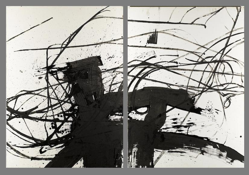 Rollerblade #1 and #2 , 120 x 80 cm, Chinese ink on rice paper, 2004