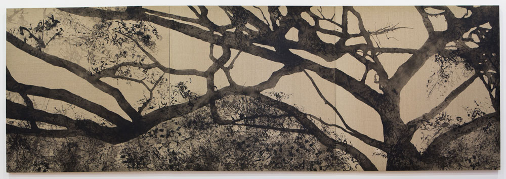 Conversation with Trees , 150 x 450 cm, silkscreen ink on linen, 2012, Collection of Mr Toh Ee Loong