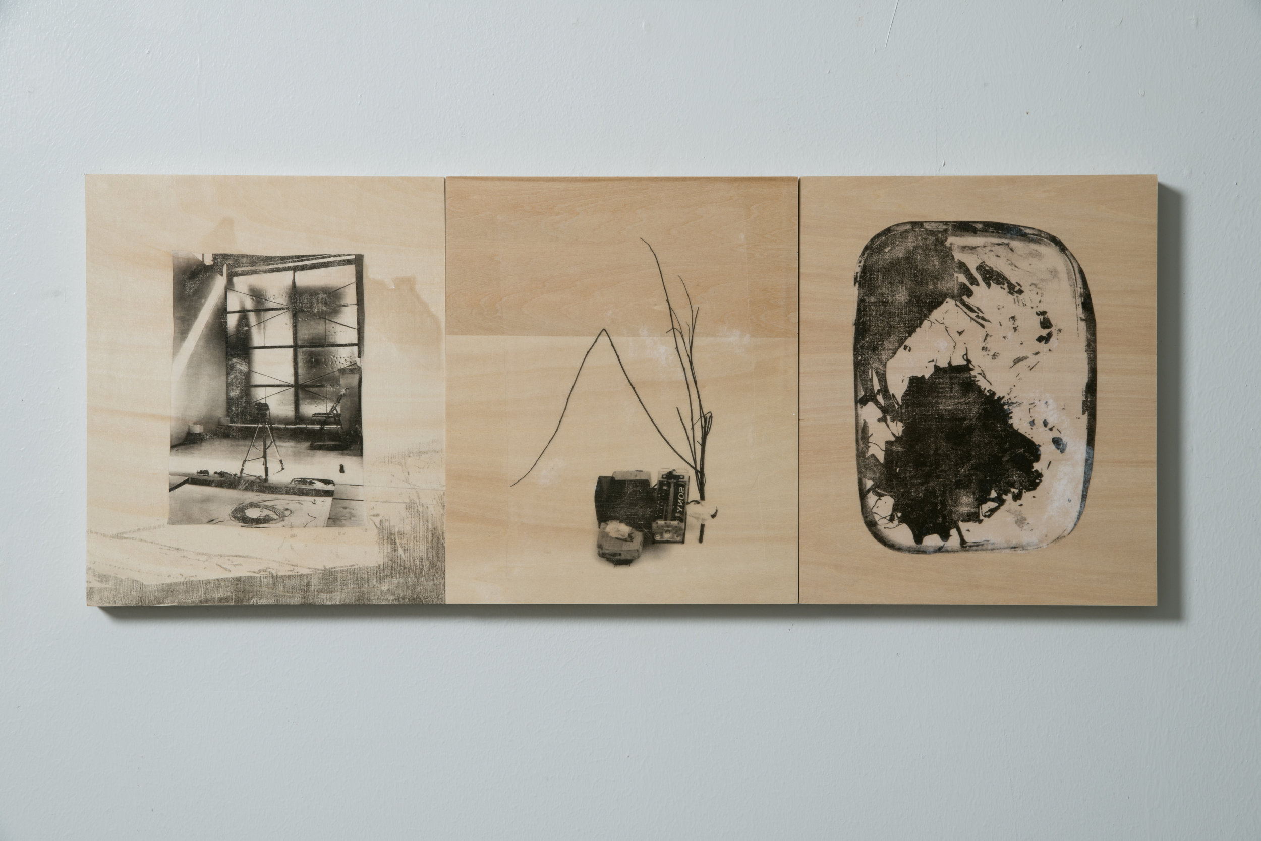 Youkobo Studio Process Robot Series #1-3 , 23 x 27 cm each, photo transfer on wood, 2013, Collection of Mr Justin Lee