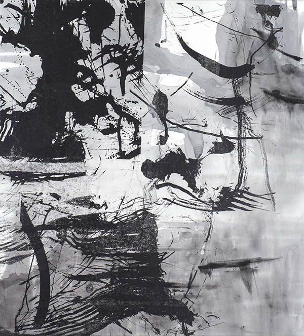 Connecting the Wires , 97 x 88 cm, ink and silkscreen on canvas, 2014