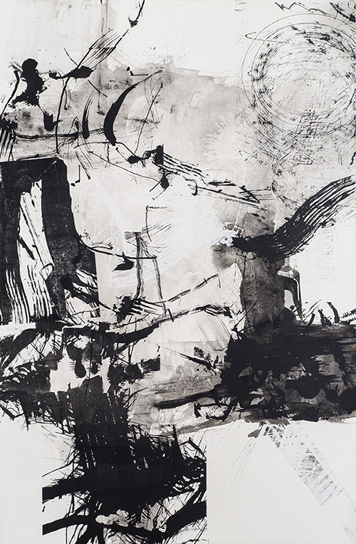 Downtime , 200 x 130 cm, ink and silkscreen on linen, 2014