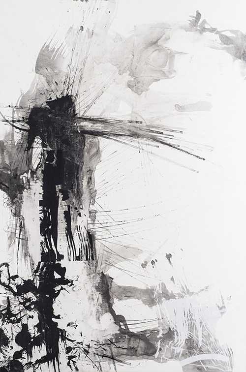 Uptime , 200 x 130 cm, ink and silkscreen on linen, 2014, Private Collection