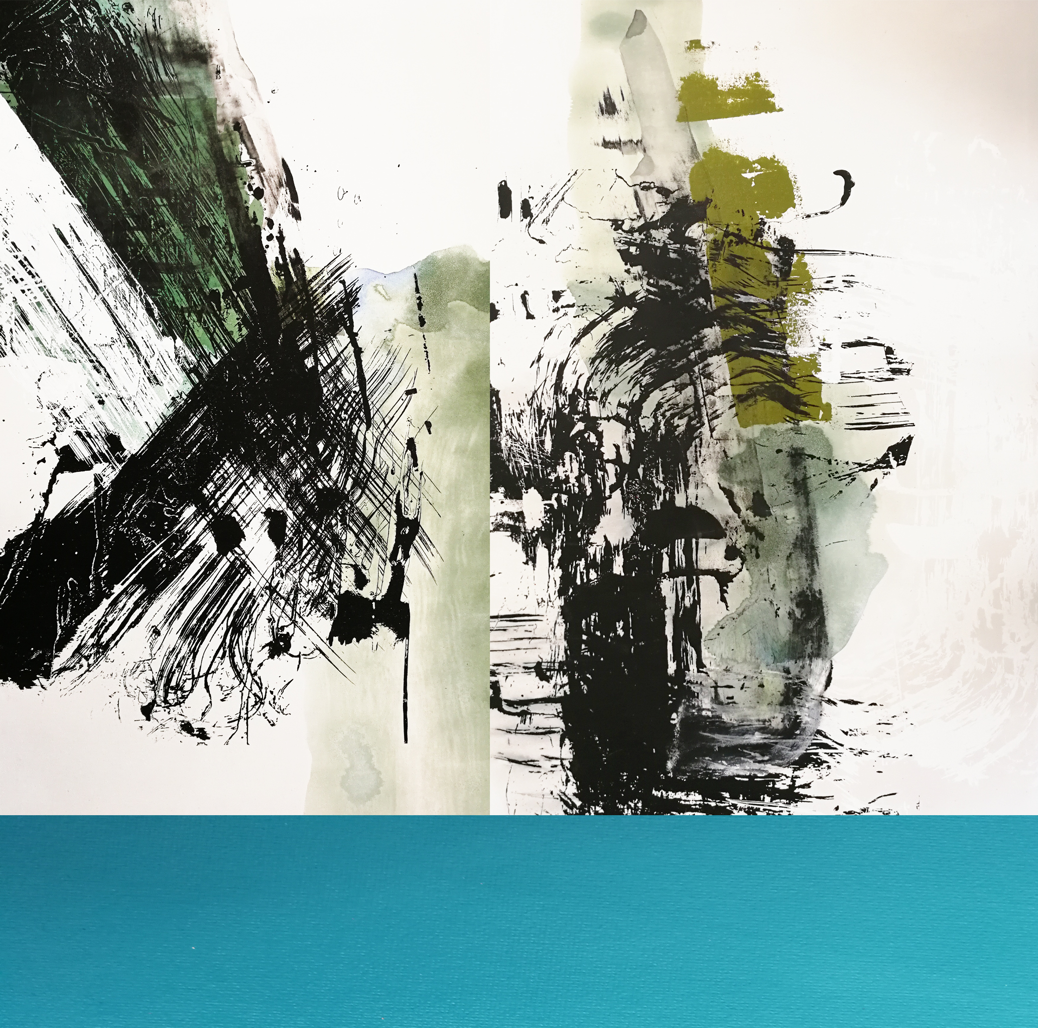 Composition #2 Triptych with Turquoise Stripe , 127 x 130 cm, silkscreen paint and pigments on linen, 2018