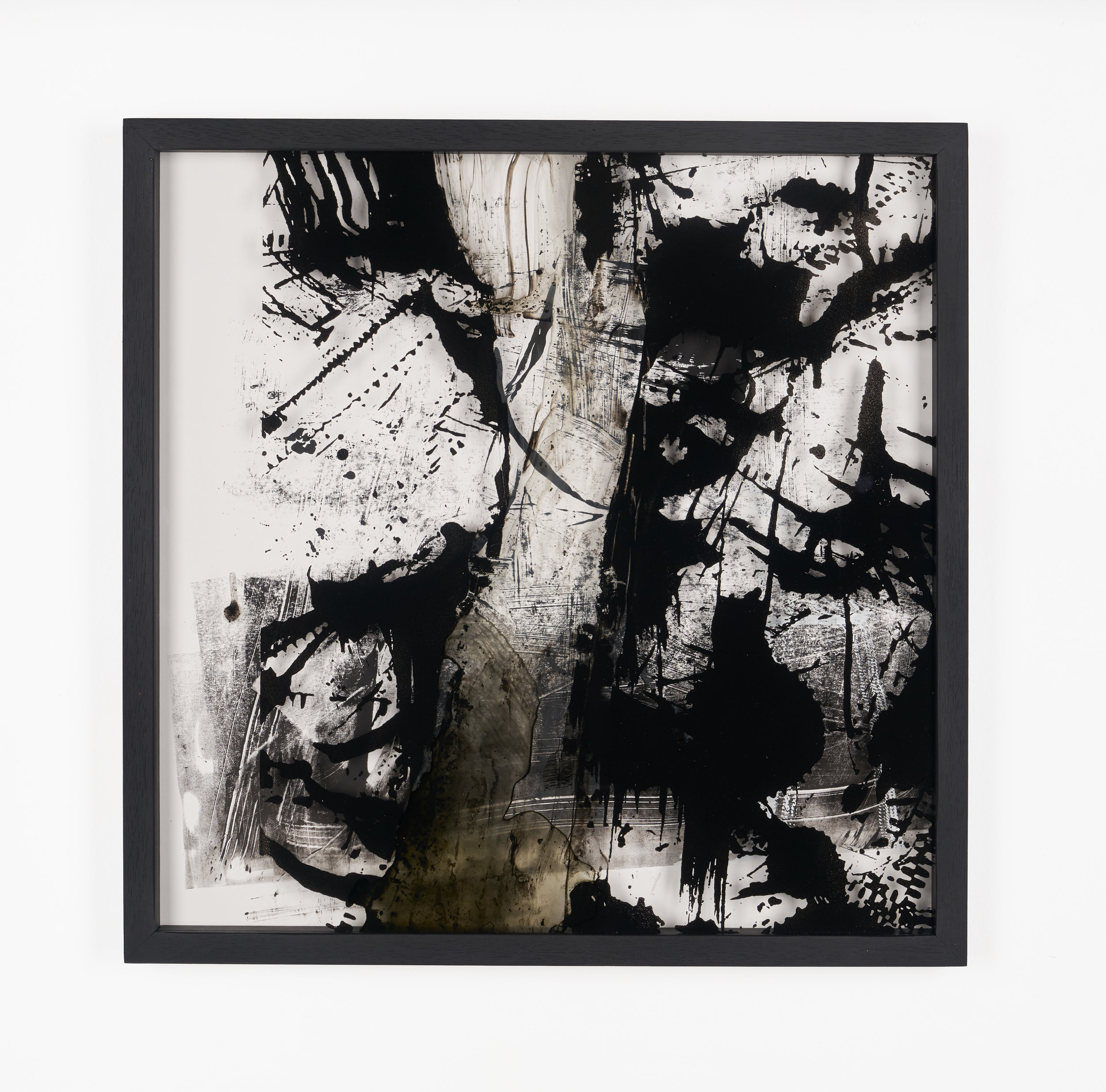 Impossibility of repetition #1-5 2019, Screen paint on glass and paper , 50cm by 50cm