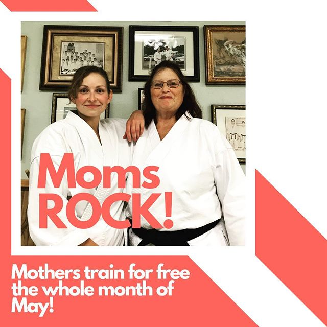 Moms deserve way more than one day a year, so we're giving you a free MONTH! Come in the month of May and train for free in any of our kickboxing, taichi, or karate classes! We appreciate all that you do for your kids and our community, so this one's on us! #mothersday #mom #mother #karate #yakima #free #fun #fitness #community #kids #youth #love #spring #may #training