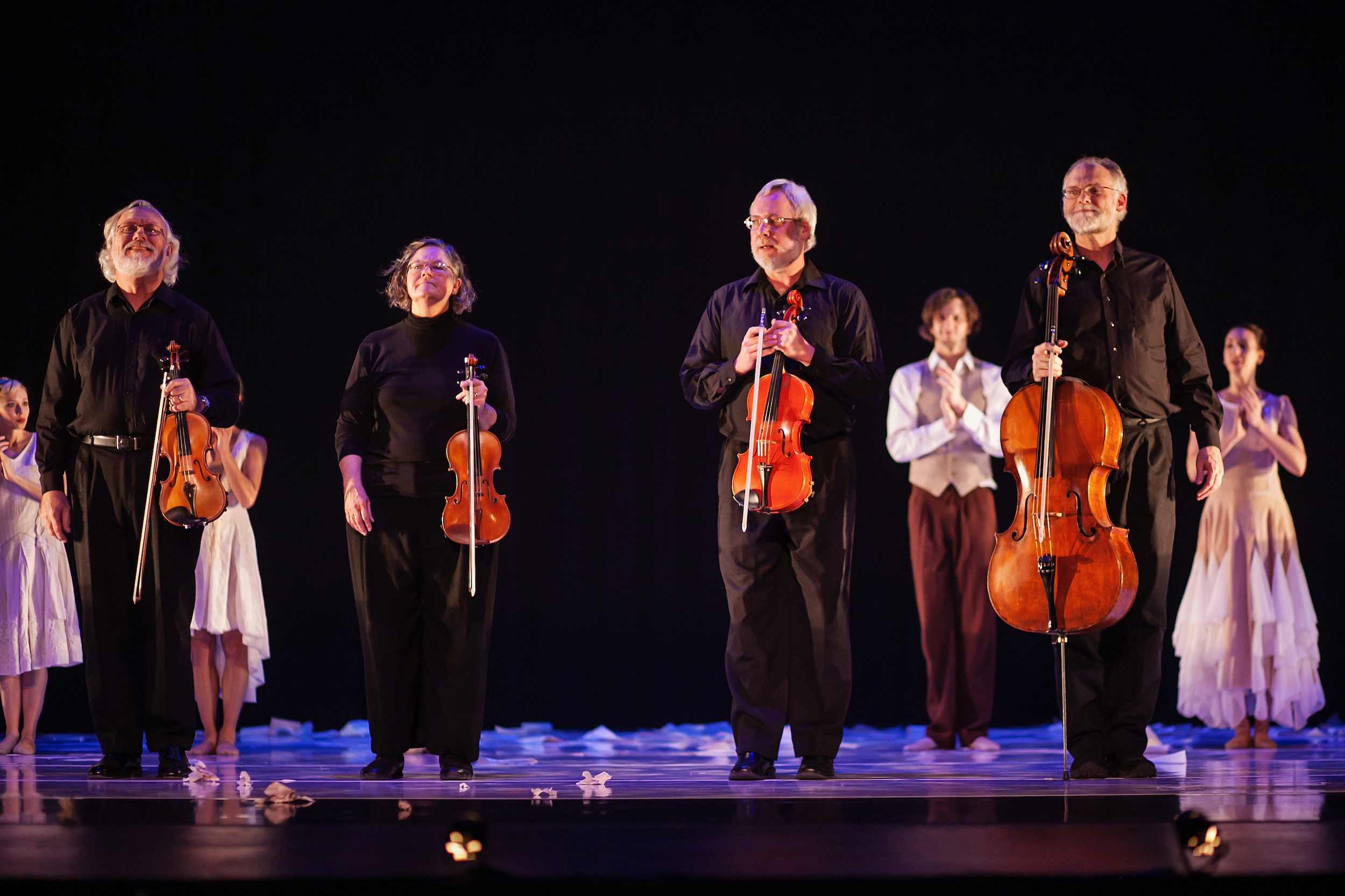 Confluence String Quartet in Sarah Tallman's  Intimate Letters  with Wonderbound. Photo by  Amanda Tipton . 2014.