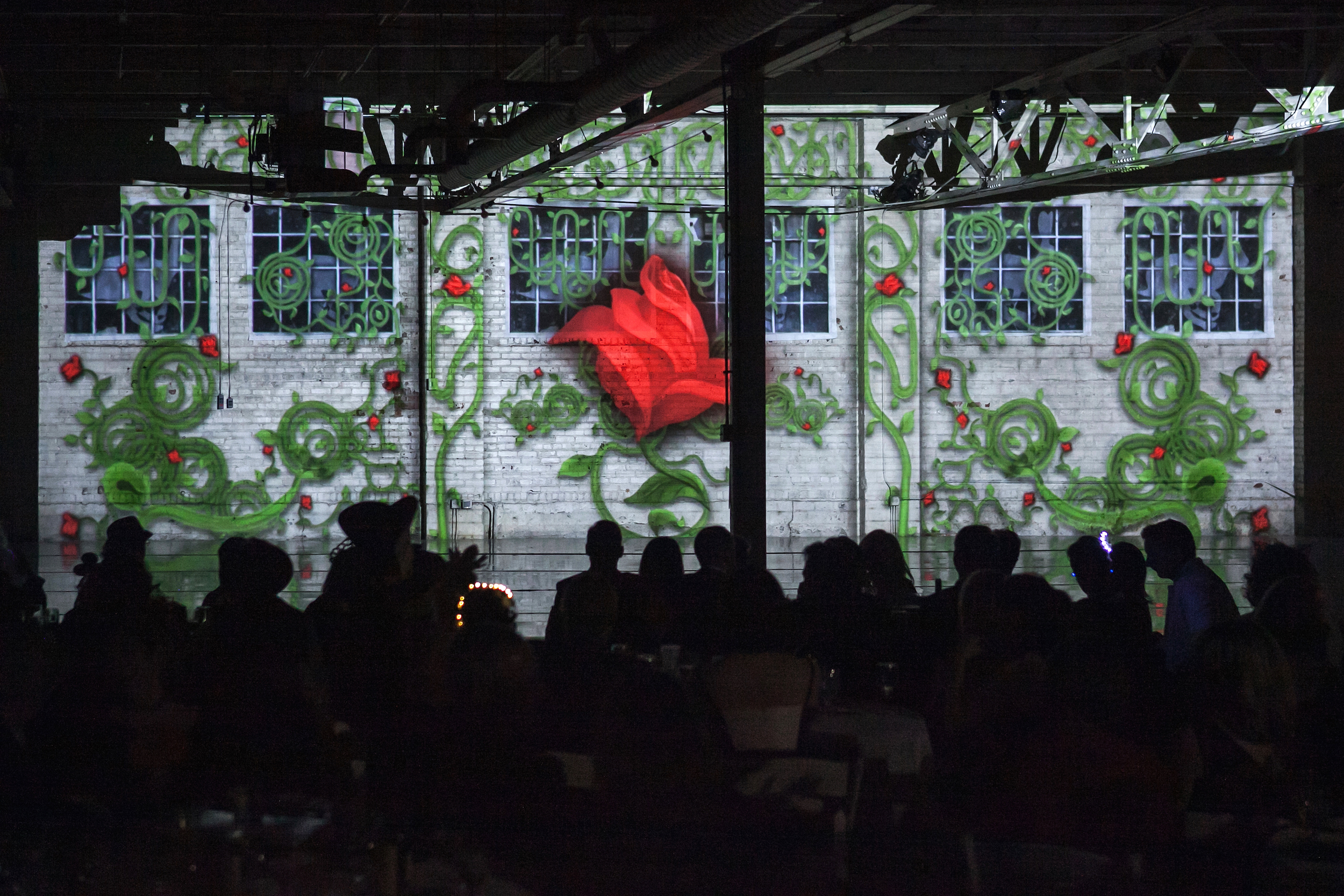 Projections by Evan Charles McCandless for Wonderbound's Hare Ball. Photo by  Amanda Tipton . 2018.