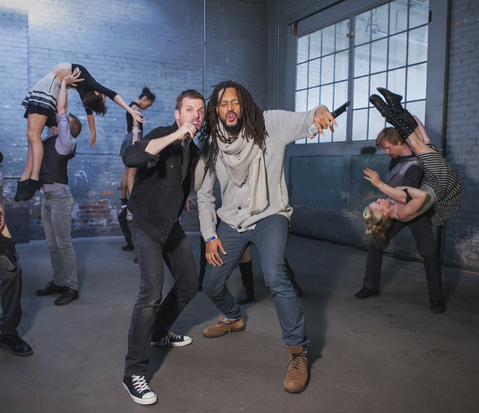 Flobots and the dancers of Wonderbound. Photo credit: Amanda Tipton. 2017.