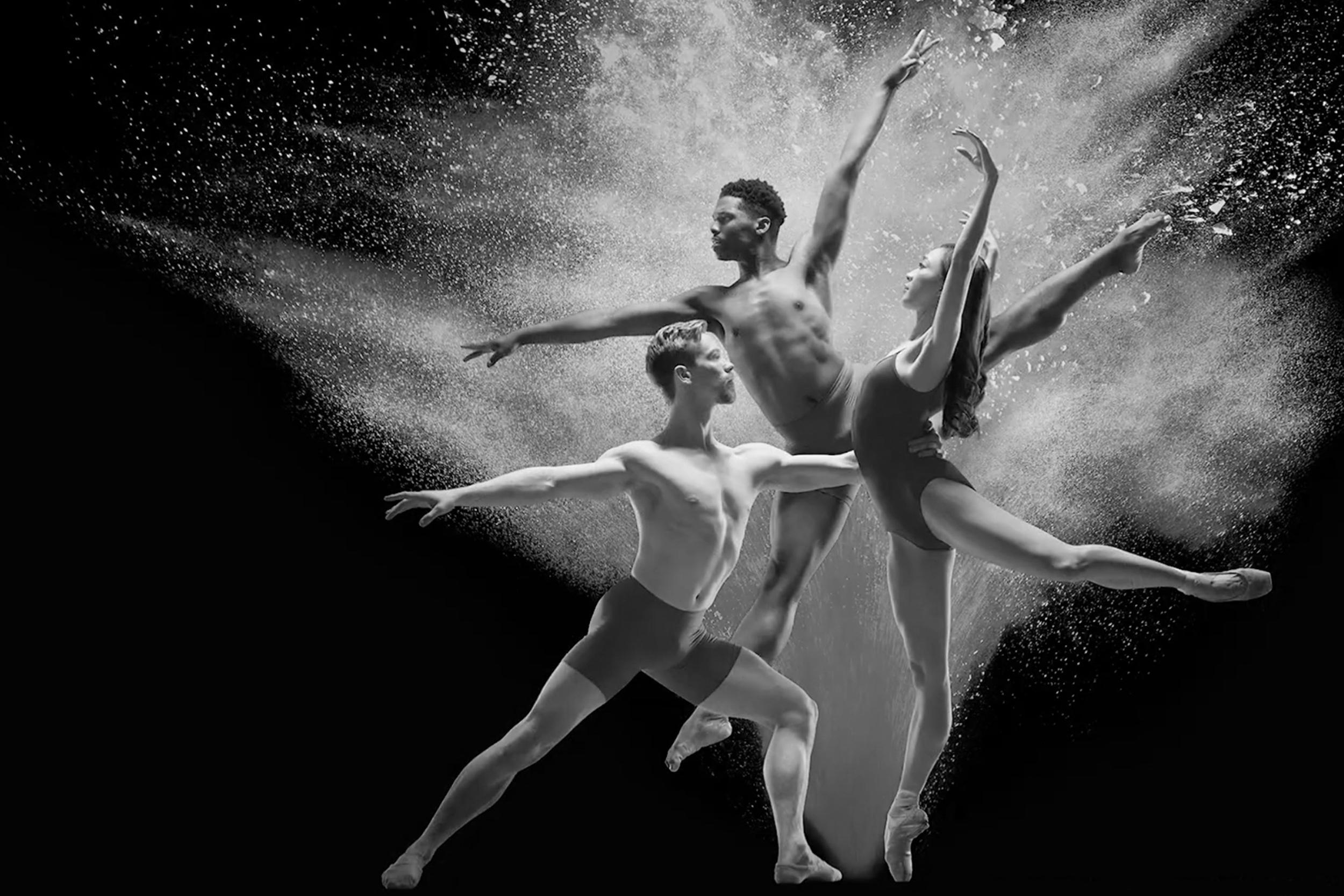 Colorado Ballet, Wonderbound and Cleo Parker Robinson Dance in Tour de Force. Pictured: Asuka Sasaki, Ben Youngstone and Martez McKinzey. Photo by  Allen Birnbach . 2018.