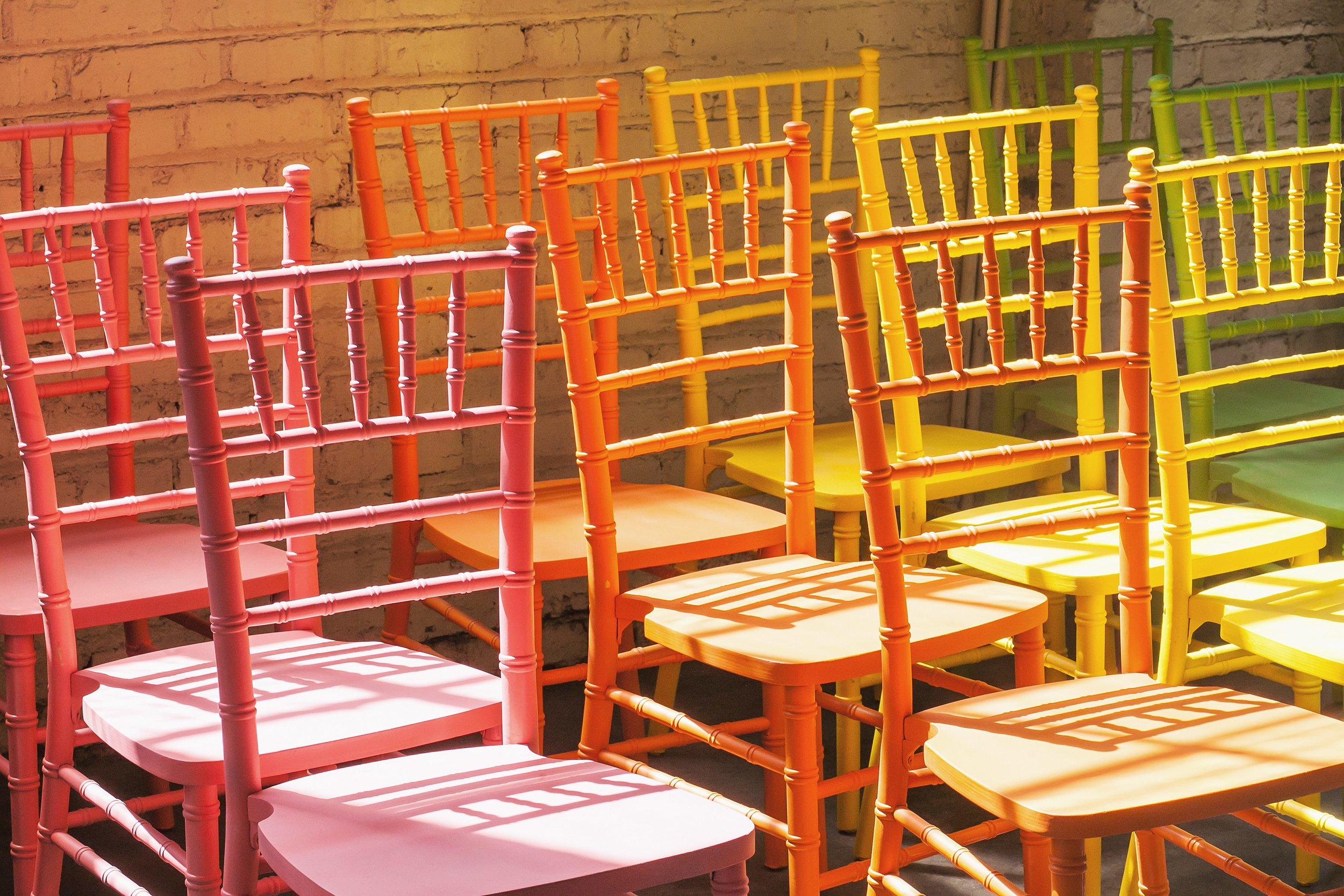 "Chivari chairs for Sarah Tallman's, ""I Didn't Hear You, I Was Away With The Fairies."" Photo by Amanda Tipton. 2018"