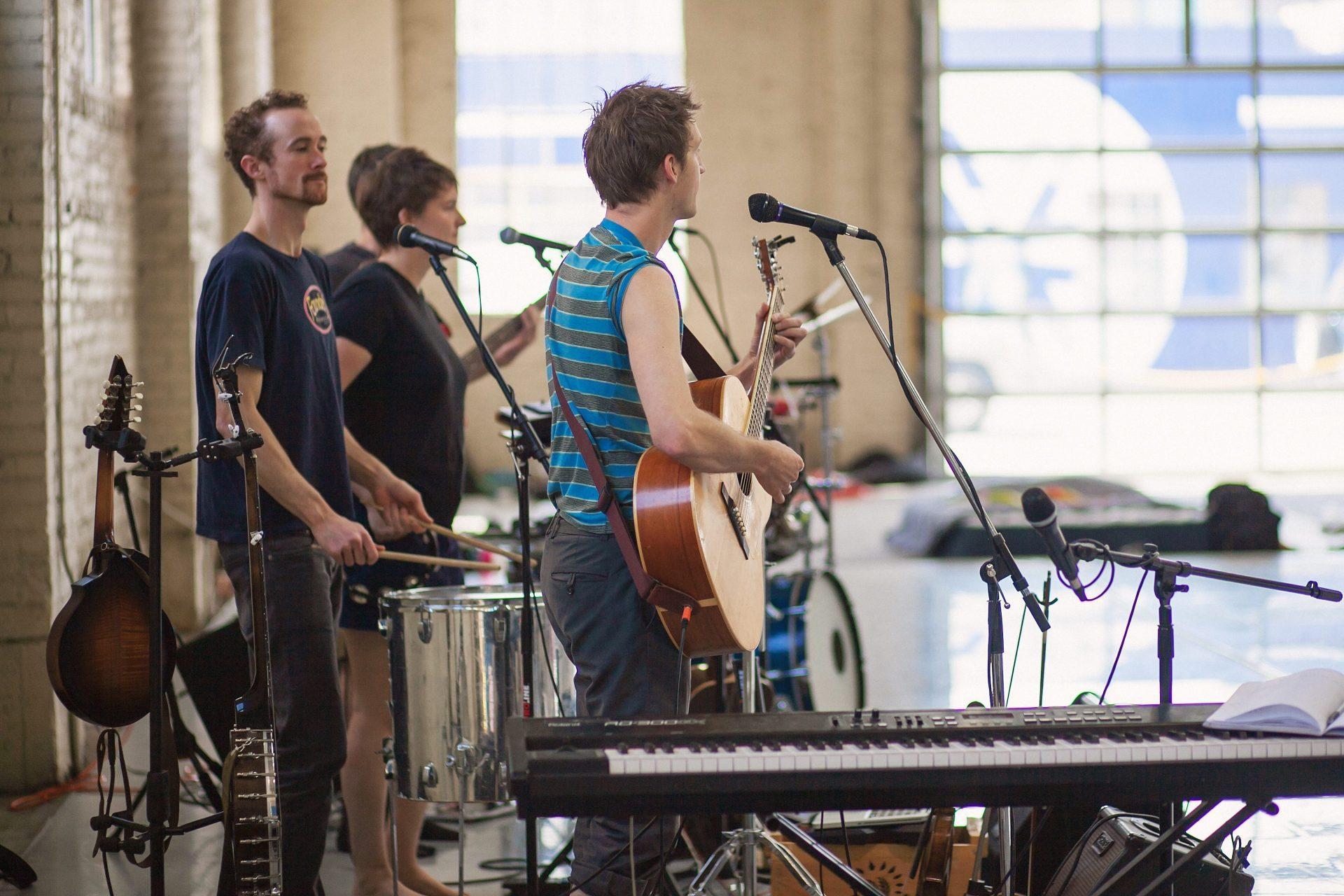 Chimney Choir rehearsing for Garrett Ammon's  Boomtown . Photo by Amanda Tipton. 2017