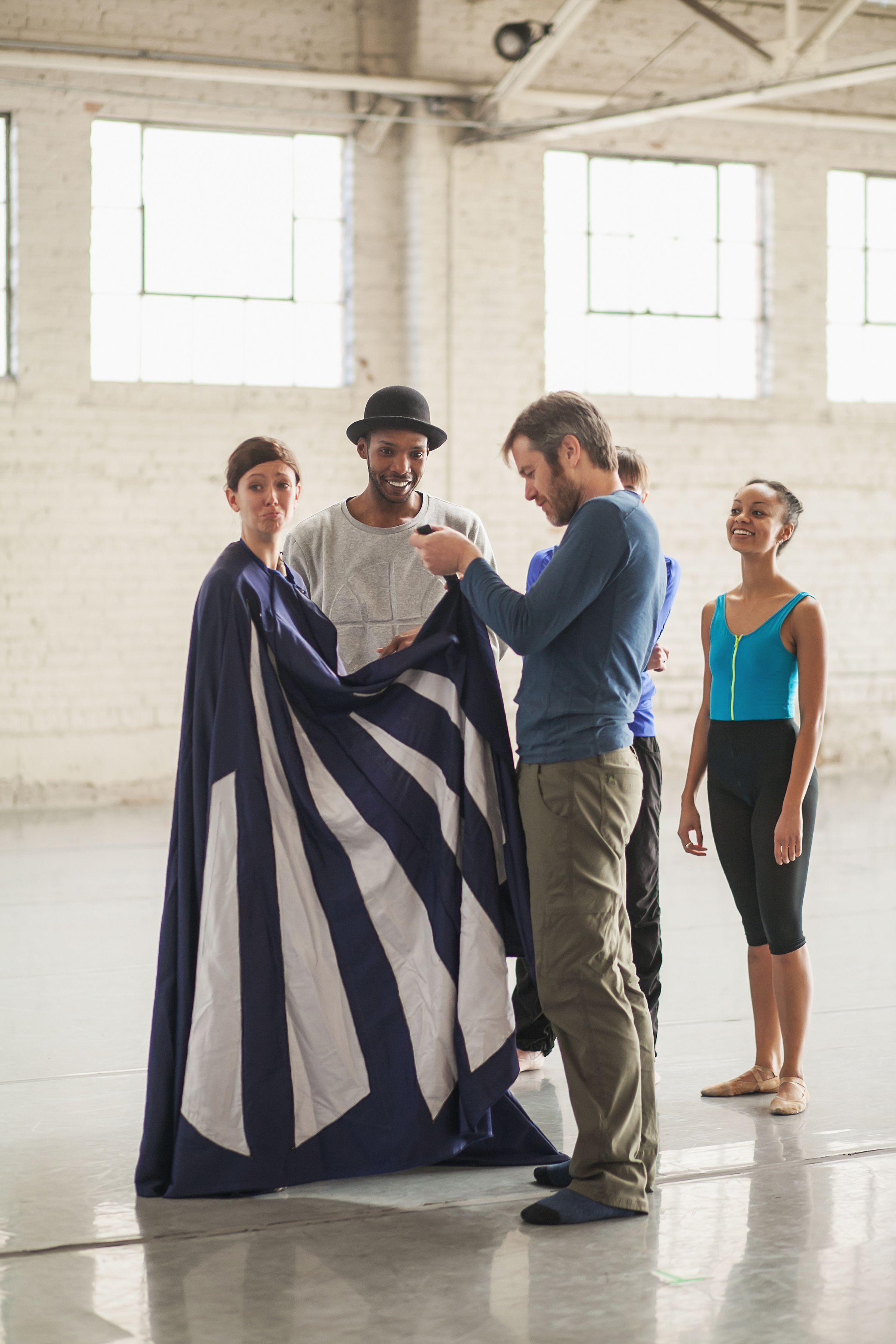 Wonderbound dancers rehearsing with Garrett Ammon for  Snow with Jesse Manley and His Band. Photo by  Amanda Tipton . 2016.