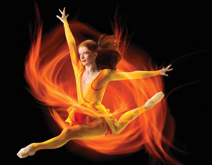 Colorado Ballet's Maria Mosina in  Firebird . Photo by Allan Birnbach. 2017.
