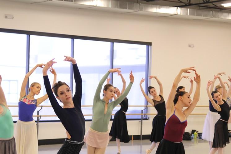 Colorado Ballet dancers rehearsing for  Firebird . Photo by Colorado Ballet. 2017.