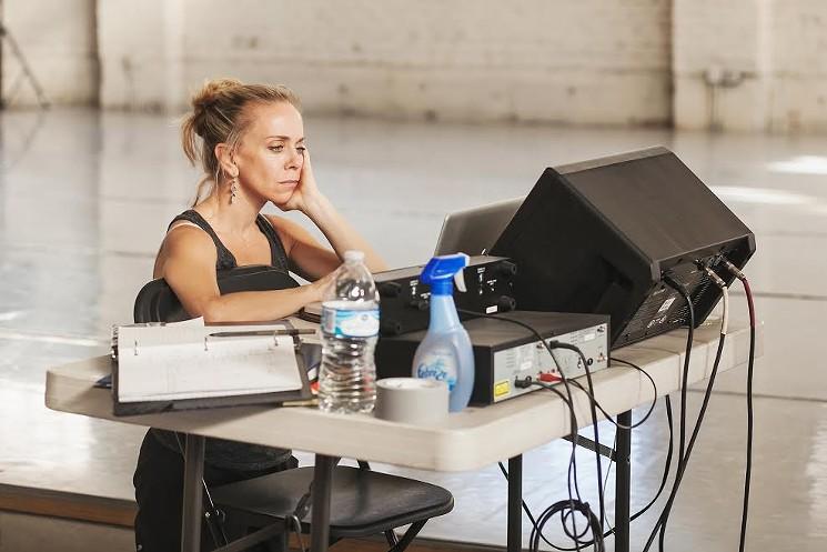 "Sarah Tallman working on her new ballet ""Peering Through Cracks and Knotholes."" Photo by  Amanda Tipton . 2017."