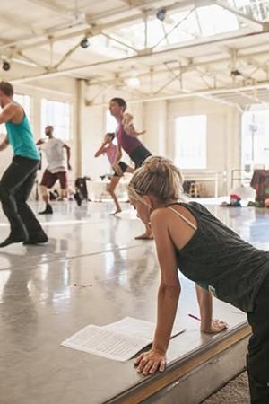 Sarah Tallman working with dancers at Wonderbound's Junction Box Studio. Photo by  Amanda Tipton . 2017.