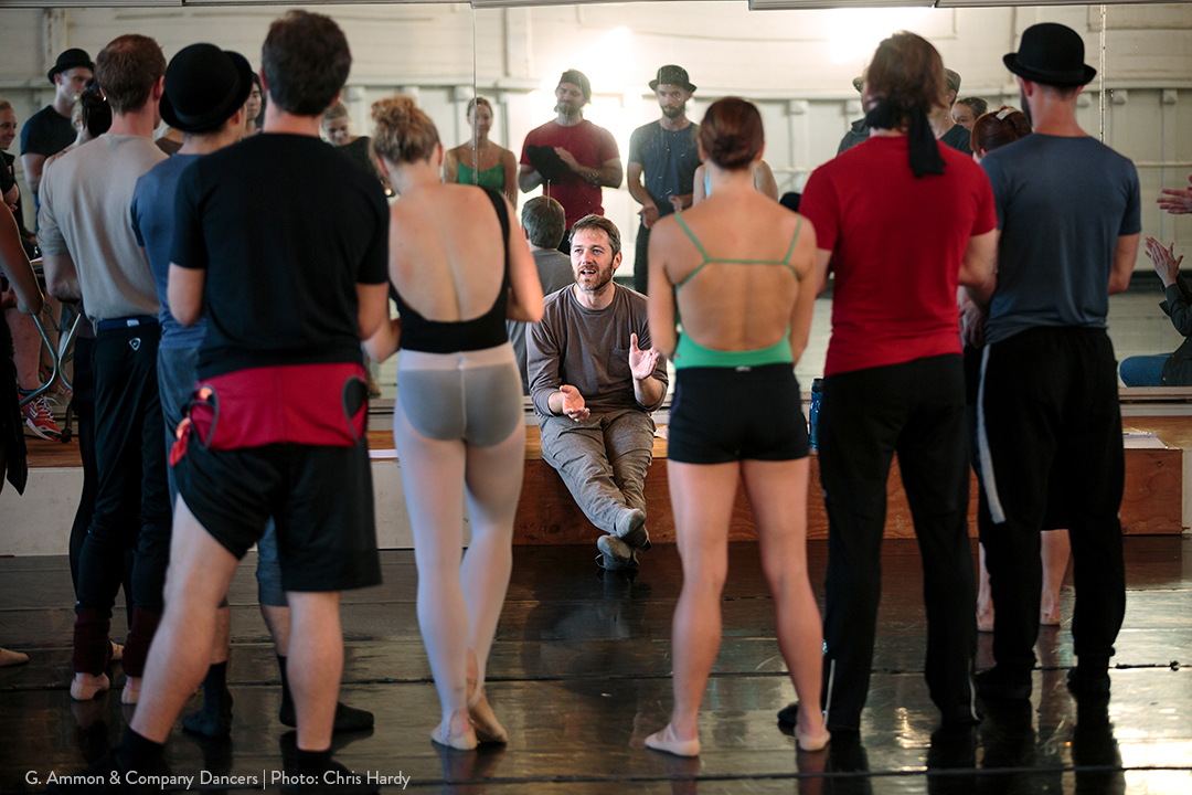 Wonderbound's Garrett Ammon speaking with Smuin dancers at Smuin dance studio. Photo by Chris Hardy. 2017.