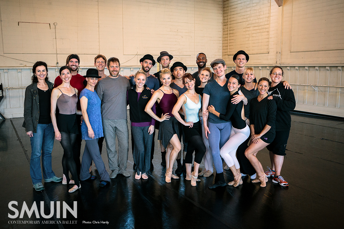 Wonderbound's Garrett Ammon and Dawn Fay with Smuin dancers. Photo by Chris Hardy. 2017.