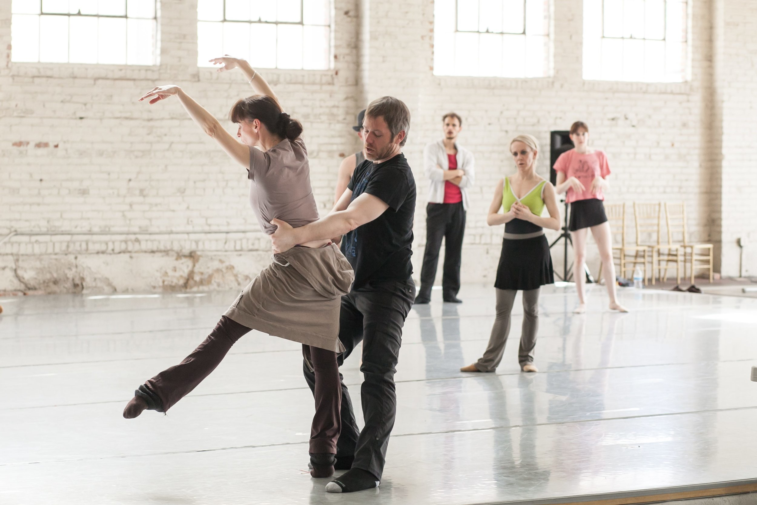 Artistic Director Garrett Ammon and Producing Director Dawn Fay with Wonderbound dancers in rehearsal.