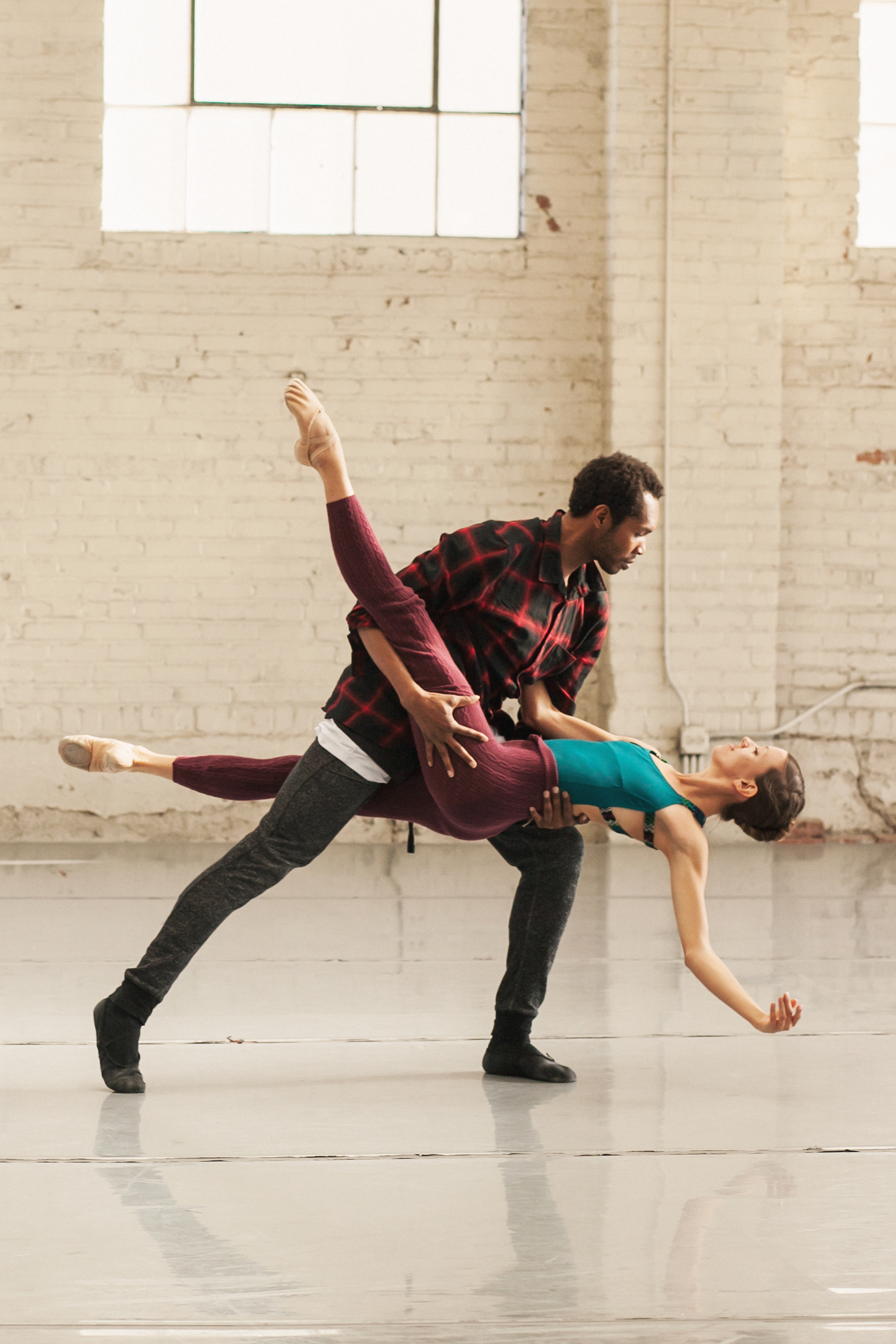 Wonderbound dancers Damien Patterson and Amy Giammarrusco rehearsing Artistic Director Garrett Ammon's  Winter  with Jesse Manley & His Band. Photo by  Amanda Tipton , 2018.